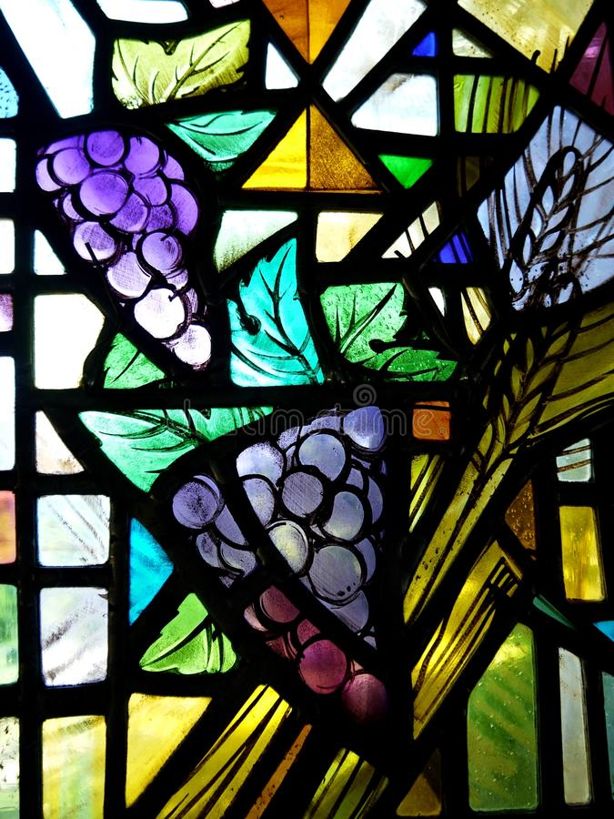Free Church: Stained Glass Window With Grapes Stock Images - 22580664