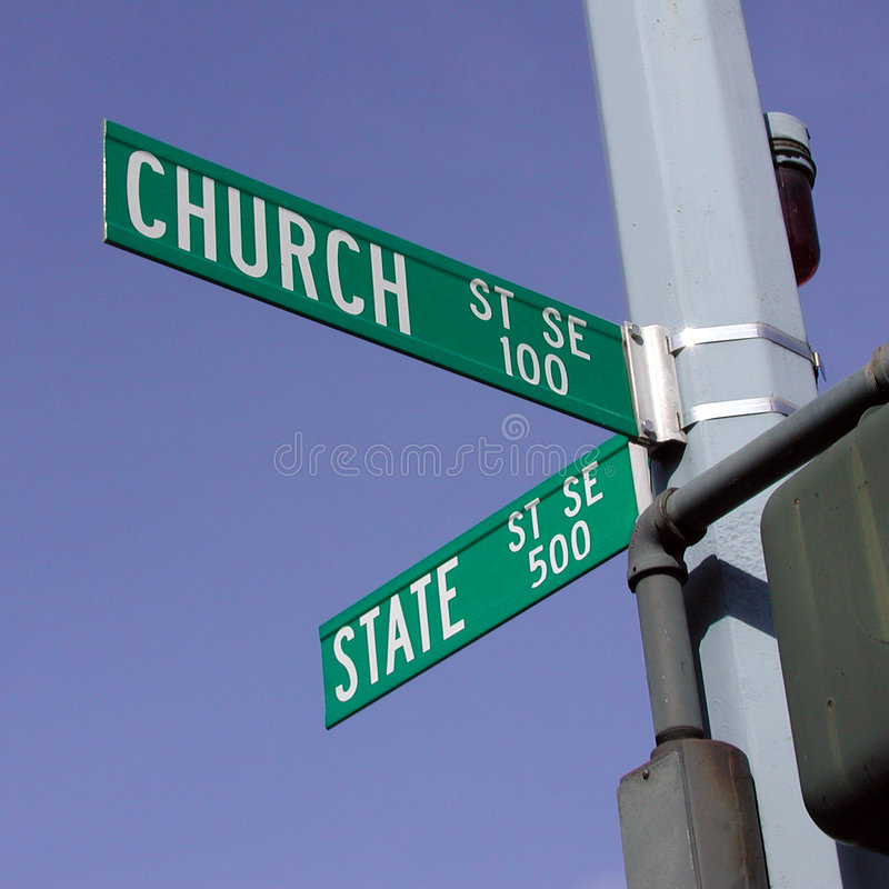 Church and State. At the intersection of Church and State Streets in Salem, Oregon stock photo