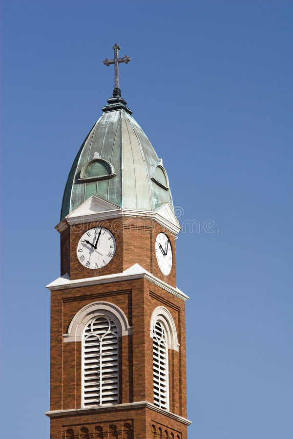 Church Steeple and Clock royalty free stock photography