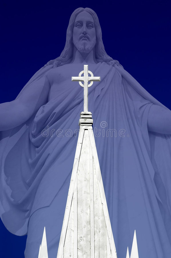 Church Steeple with Jesus royalty free stock image