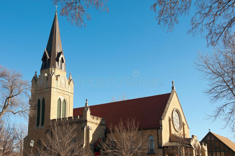 Church Steeple and Nave in Saint Paul stock images