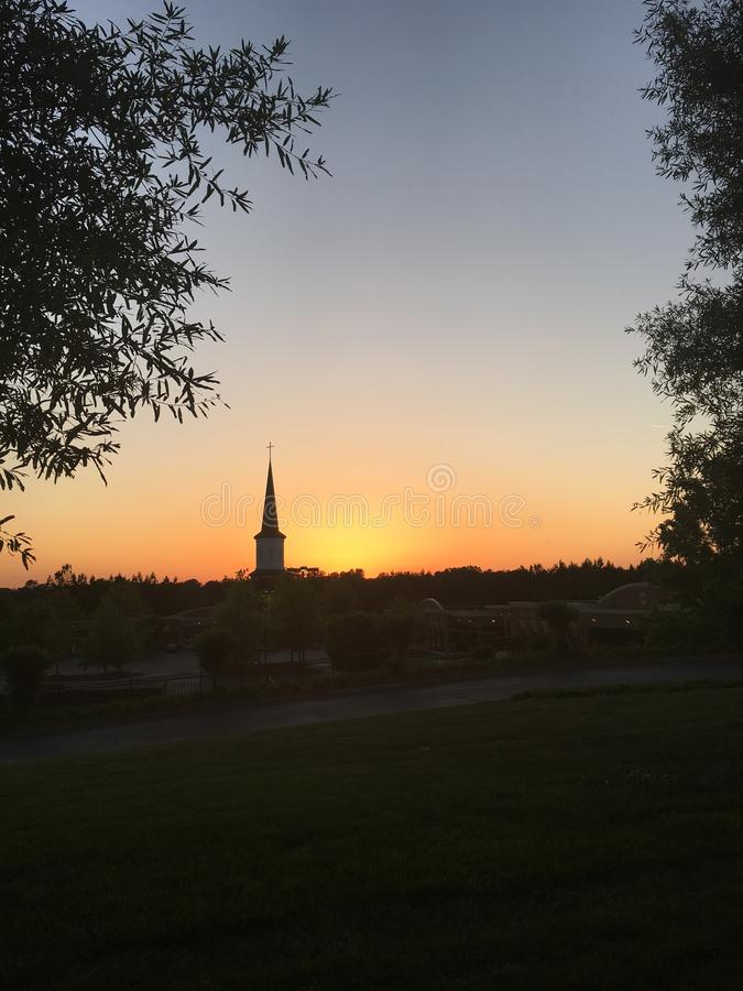 Church Steeple at Sunset stock images