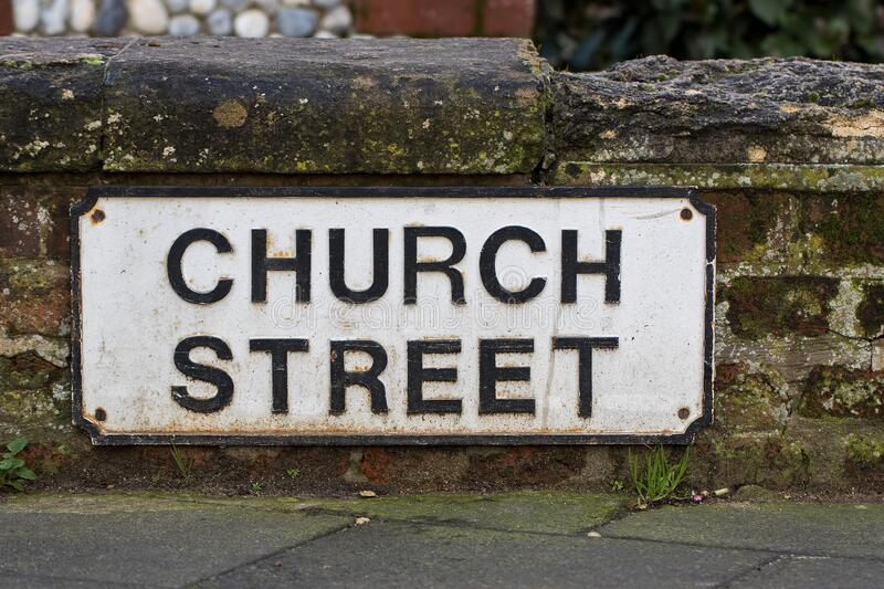 Church Street sign. Road to religion and the righteous path stock image