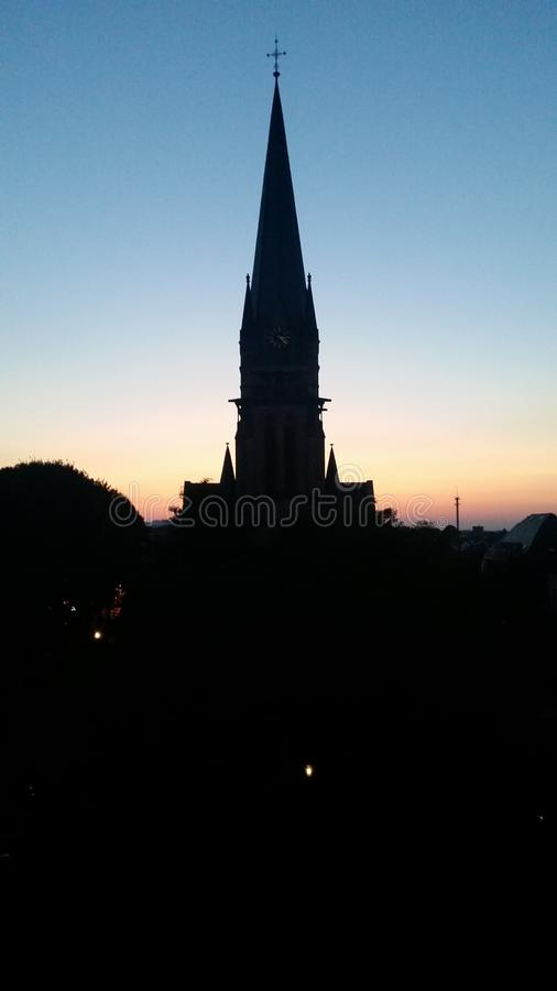 Church sunset stock images