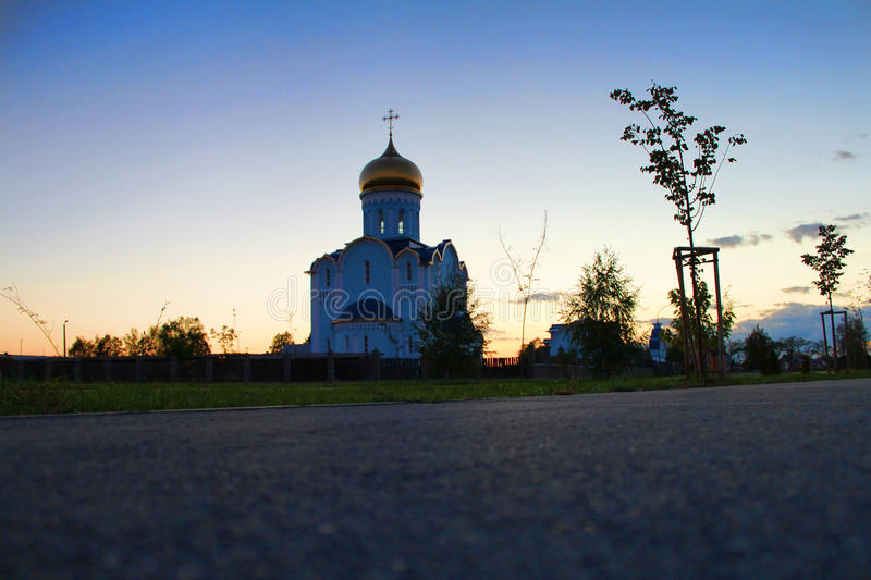 The church. Sunset Church in Luninets . Belarus royalty free stock images