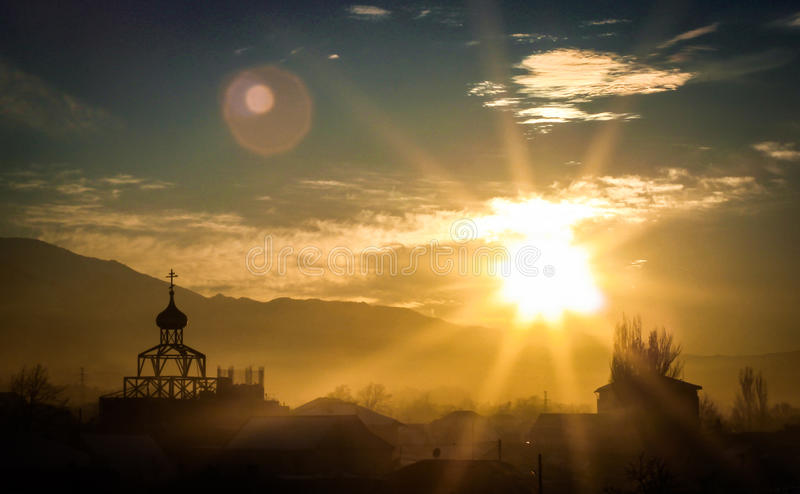 The church sunset royalty free stock photography