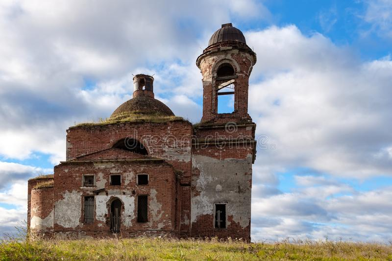 The Church of the 18th century old destroyed by time, the walls are dilapidated and sometimes collapsed, from under royalty free stock photos