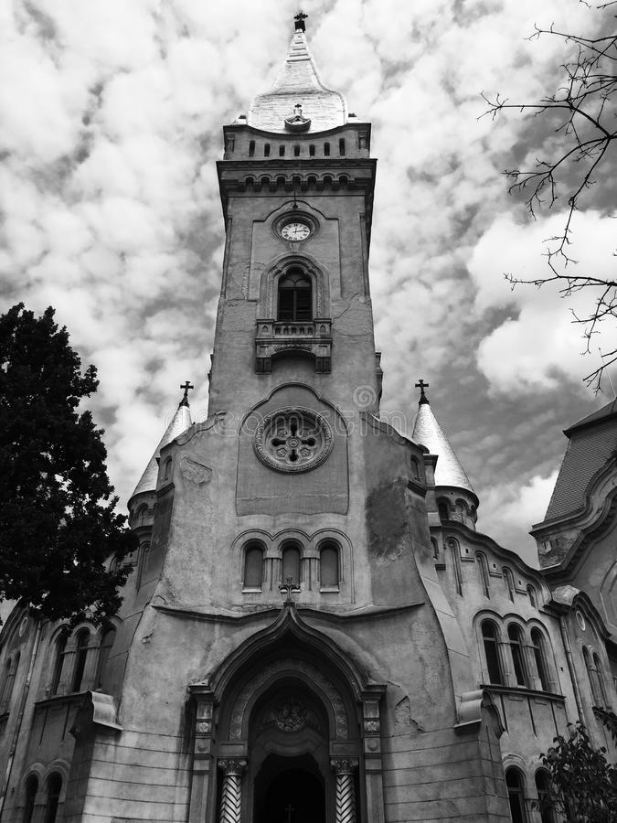 Church in Timisoara. Black & white picture with a church in Timisoara stock image