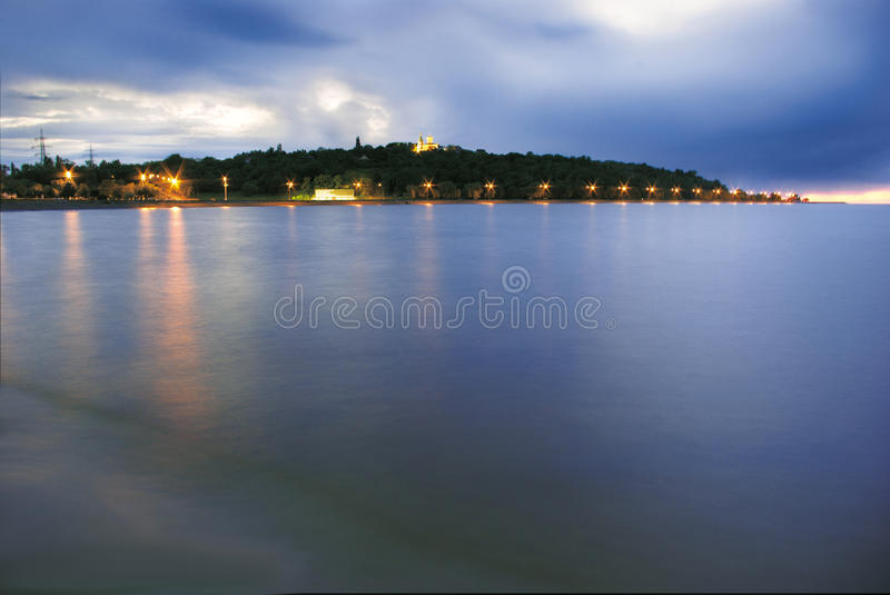 Church at the top of the hill by the Dnieper river stock image