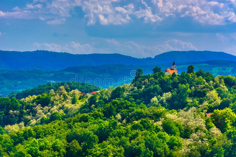 Church on top of the hill, Zagorje region. stock photo
