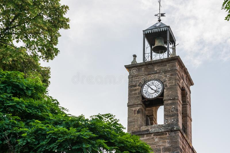 Church tower with bell tower and clock royalty free stock photos
