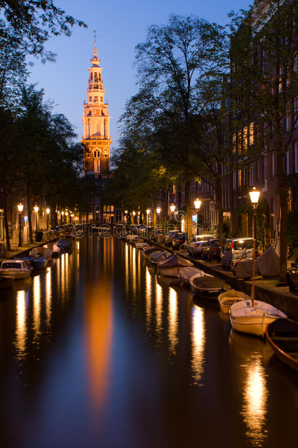 Download Church Tower And Canal In Amsterdam Royalty Free Stock Images - Image: 10334509
