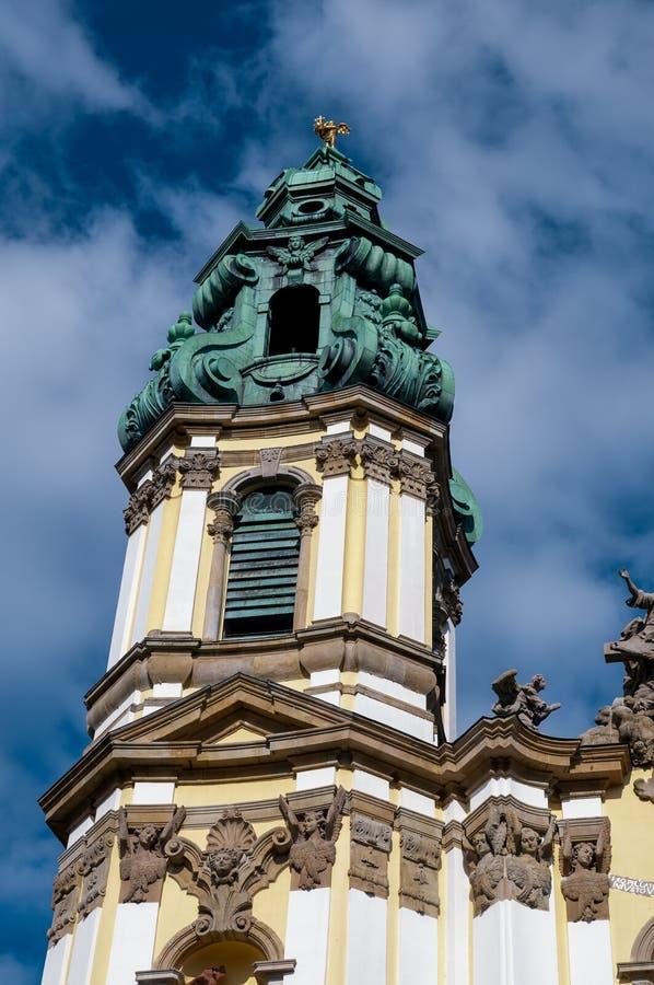 Church tower Krzeszow, Poland stock images