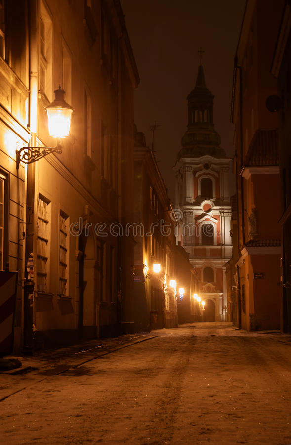 Download Church Tower At Night In Poznan Stock Photo - Image: 22592878