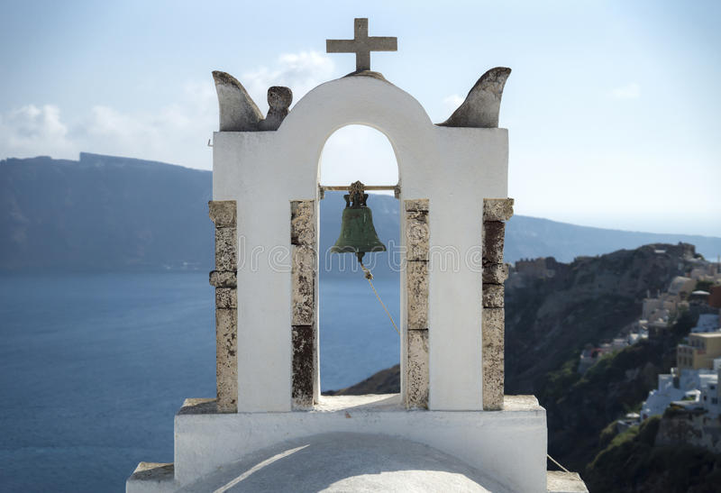 Church tower with an old bell. On Santorini, Greece royalty free stock image