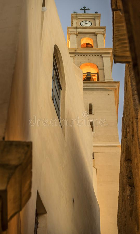 Church tower in Old Jaffa royalty free stock images