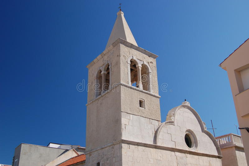 Church tower in Pag stock photo