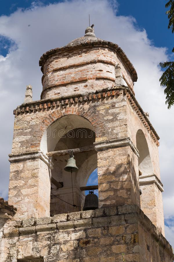 Church tower in the Andes royalty free stock image
