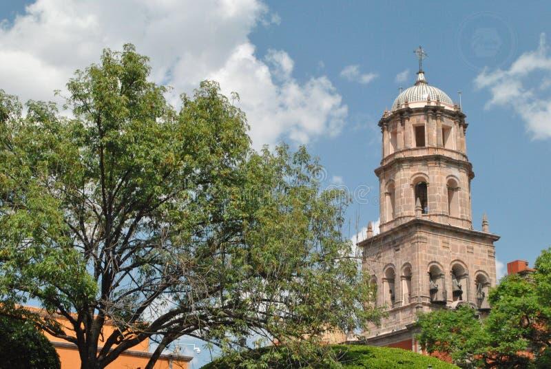 Church tower in Santiago de Queretaro, Queretaro, Mexico. In a beautifull day stock photography