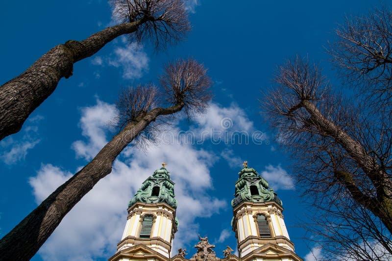 Church towers Krzeszow, Poland royalty free stock photos