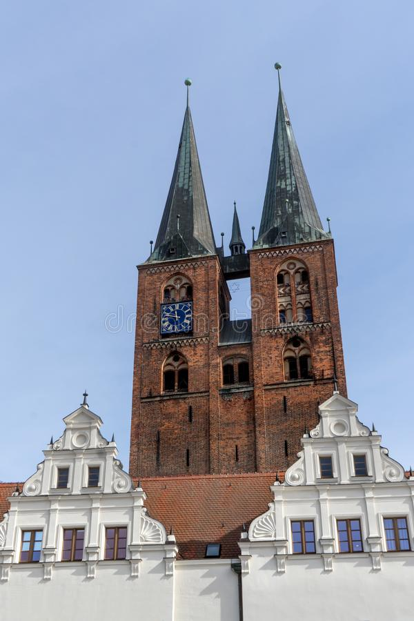 Church and town hall of Stendal royalty free stock photo