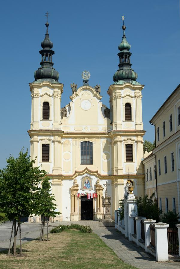 Church in the town Straznice, Czech republic. Baroque church of the Assumption of the Virgin Mary in the town Straznice, eastern Moravia, Czech republic royalty free stock photos