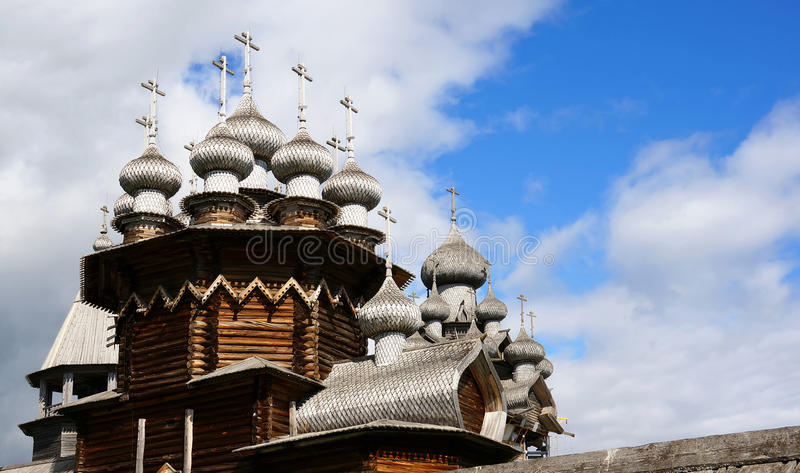 Church of the Transfiguration in Kizhi with its wooden domes royalty free stock images