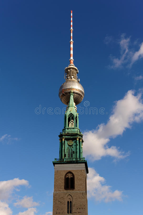 Download Church and TV Tower stock photo. Image of cloud, television - 25996430
