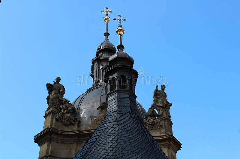 Church two crosses. Interesting church in Czech, Olomouc royalty free stock image