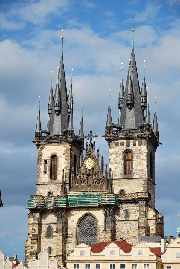 The church of Tyn in Prague stock image
