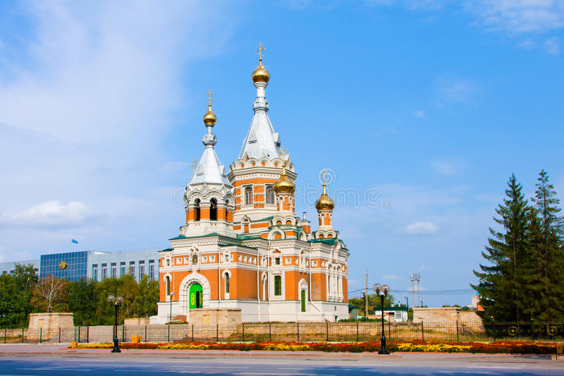 Church in Uralsk city royalty free stock photo