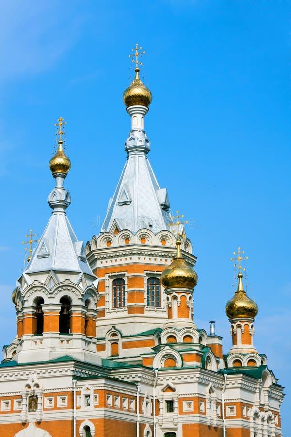 Church in Uralsk city stock images