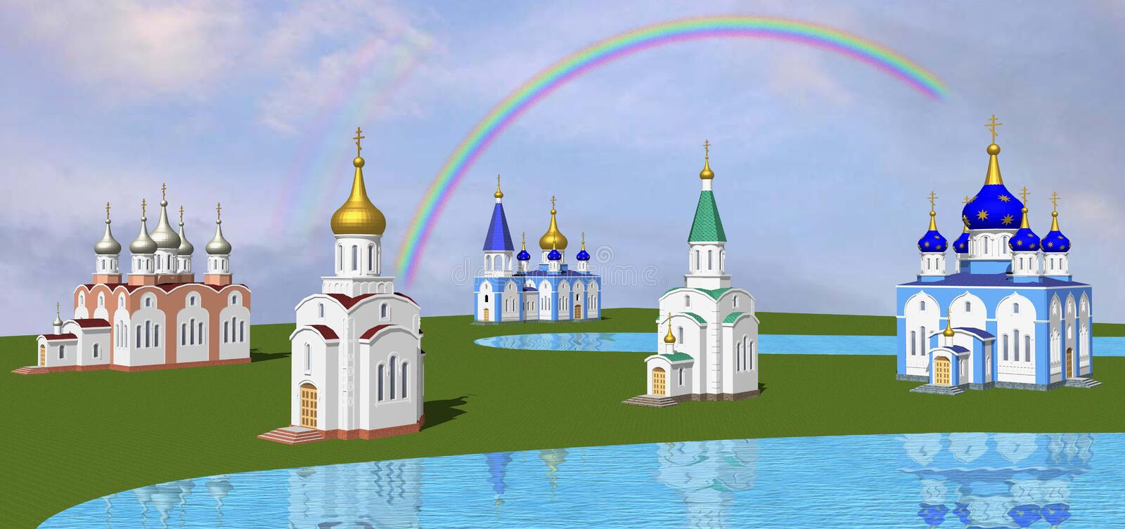 Church in the valley. Several churches in the valley stock illustration