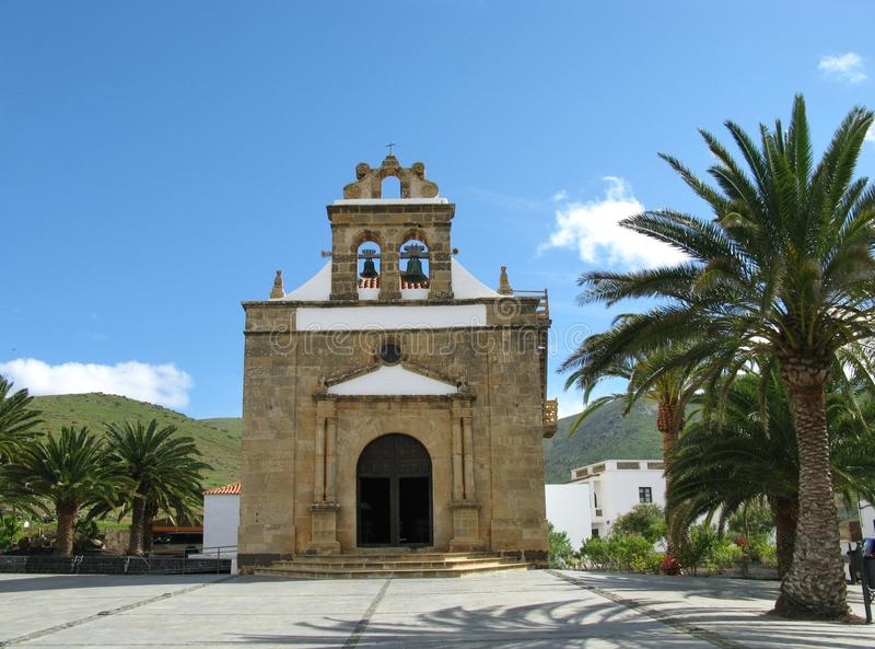 The church of Vega de Rio Palmas on Fuerteventura. The church of Nuestra senora de la Pena in Vega de Rio Palmas on the Canary Island Fuerteventura. This Island royalty free stock photo