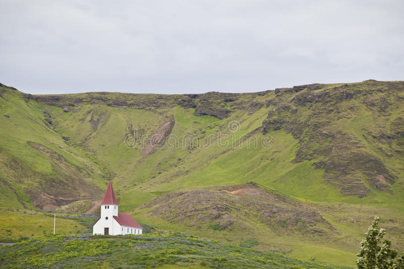 Church at Vik, South Iceland. A small but beautiful church located at the hill of Vik, the southest city of Iceland royalty free stock images