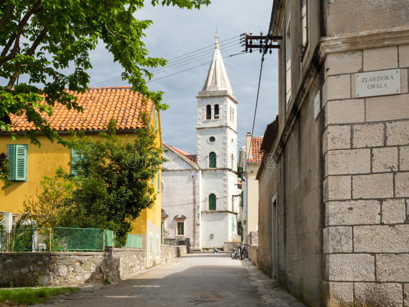 Church in a Village in Croatia, Zlarin Island. Close to the Zlarin port royalty free stock photo