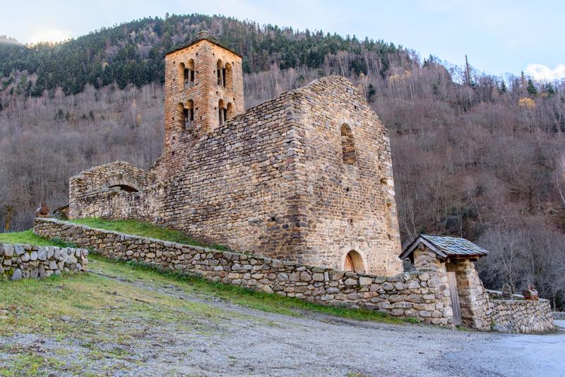 Church in the village of Merens les vals, Ariege, Occitanie, France. The 12th century Romanesque church in the village of Merens les vals, Ariege, Occitanie stock image