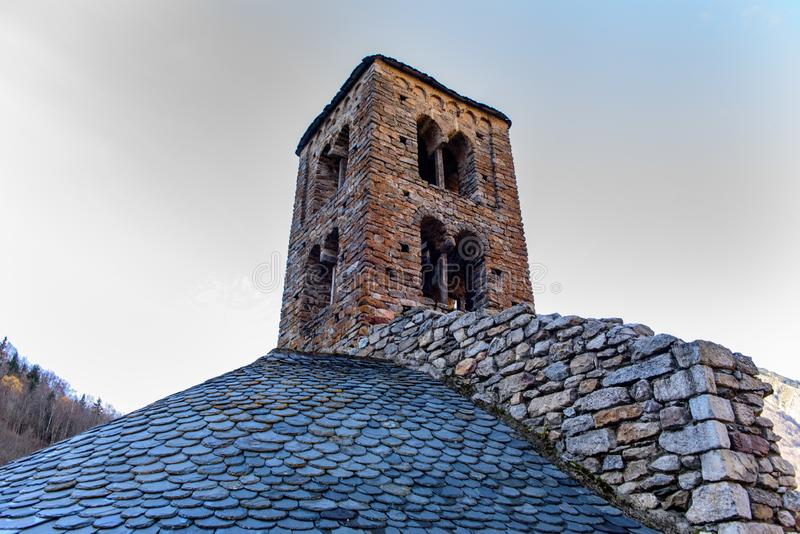 Church in the village of Merens les vals, Ariege, Occitanie, France. The 12th century Romanesque church in the village of Merens les vals, Ariege, Occitanie stock photo