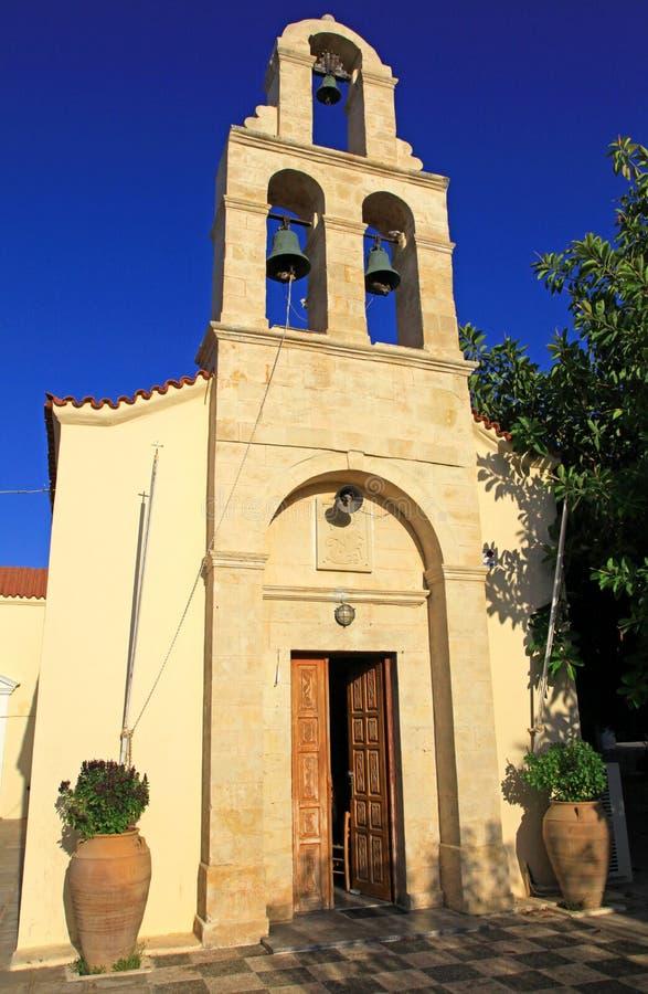 Church in village Panormo at Crete, Greece stock photo
