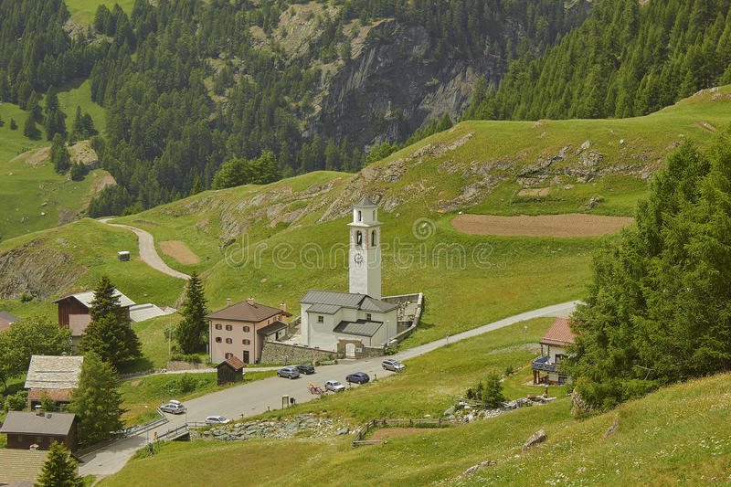 The church of the village Sur. On the Julier Pass in the Grisons. It is one of the two churches in the village. This heir stands in the village, the second on royalty free stock images