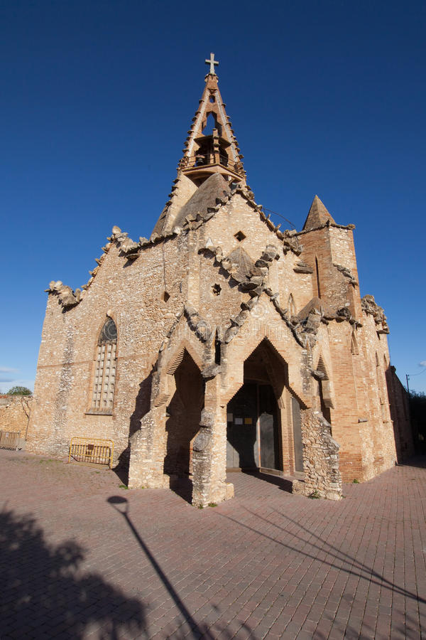 Church of Vistabella. Temple of Sagrat Cor, a modernist church by Josep Maria Jujol in Vistabella, La Secuita, Catalonia royalty free stock image