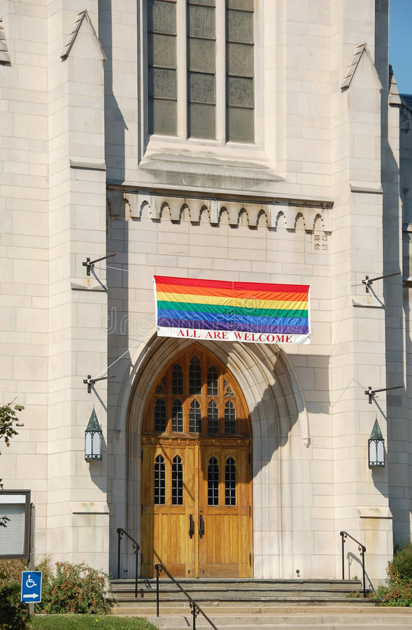 Church welcoming gay members to the congregation stock image