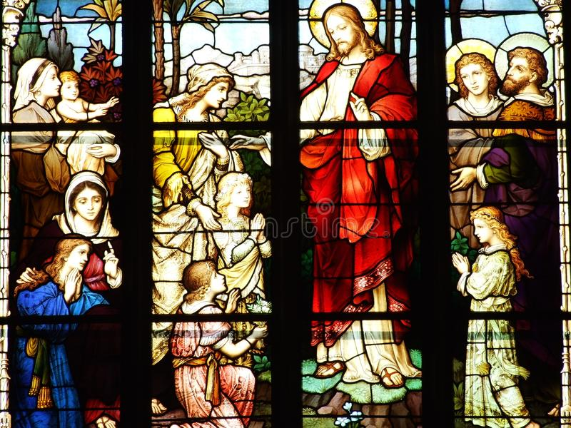 Church, window, glass, stained, stained glass, religion, cathedral, mary, religious, christ, architecture, art, faith, god. Catholic, saint, bible, angel, holy stock photos
