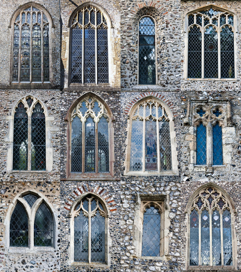 Church windows. Windows from different churches in Norfolk, England royalty free stock images