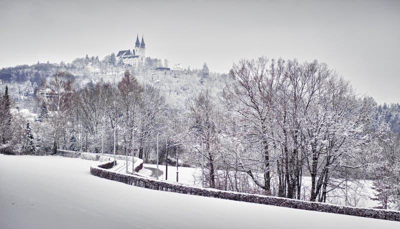 Church in Winter Landscape stock image