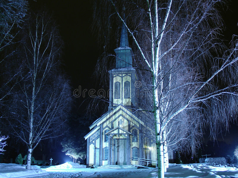 Download Church on a winter night stock image. Image of nighttime - 638739