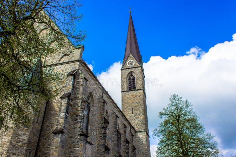 Churche de piedra hermoso en Schwarzach en Vorarlberg, Austria foto de archivo