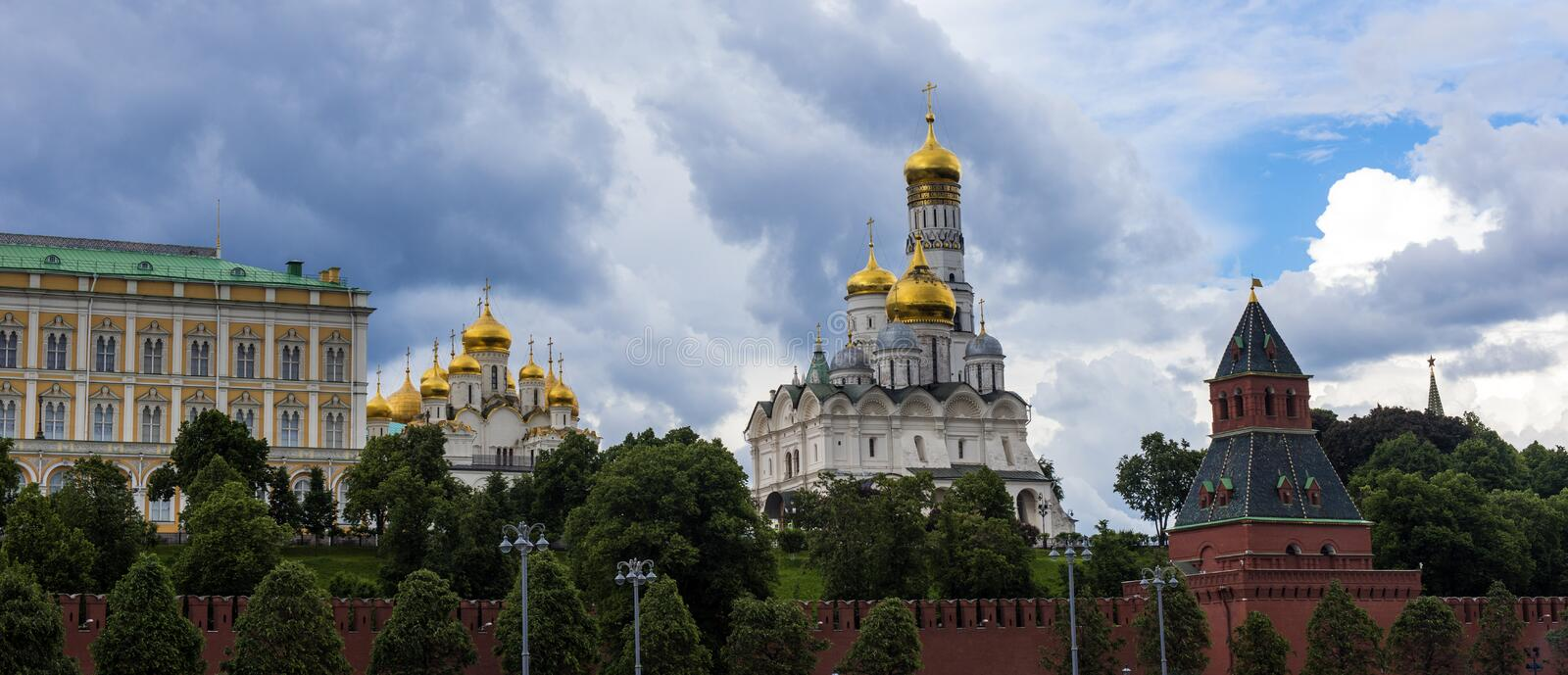 Churches and cathedrals in Moscow Kremlin. Kremlin Embankment in Moscow, Russia. royalty free stock images