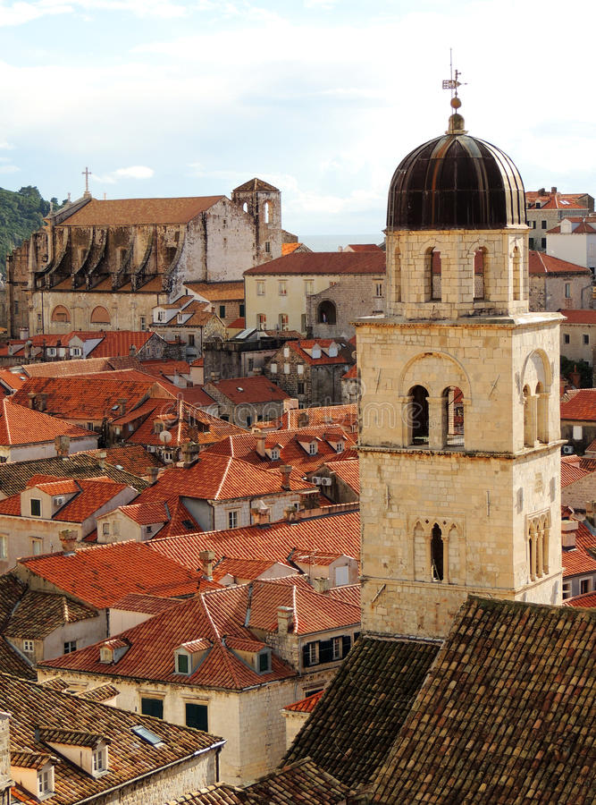 Churches from city wall. View from city walls to jesuit church and bell tower dubrovnik stock photography