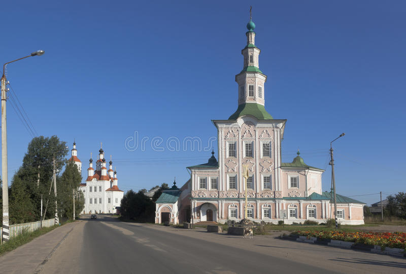 Churches Entry into Jerusalem and Nativity of Christ on Lenin Street in the city of Totma stock image